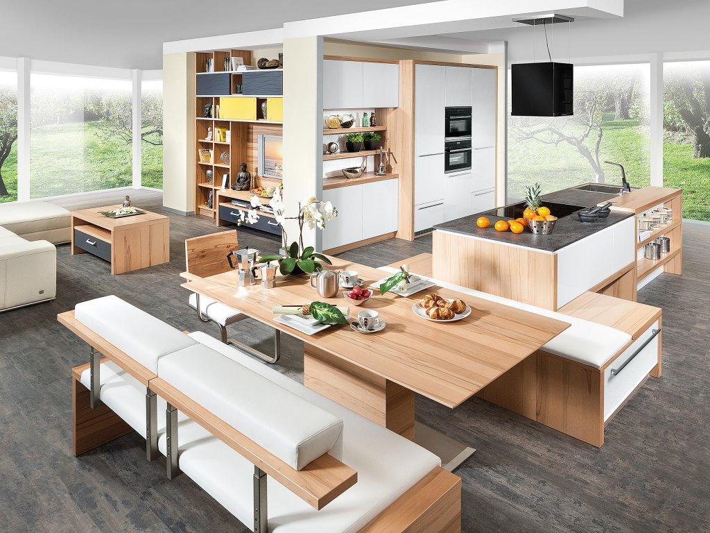 k che mit kochinsel und tisch. Black Bedroom Furniture Sets. Home Design Ideas