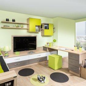 Jugendzimmer mit Raumteiler-Schreibtisch