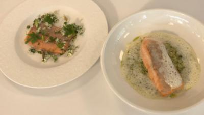 Gebeizte Forelle und Bärlauch-Risotto mit Lachs