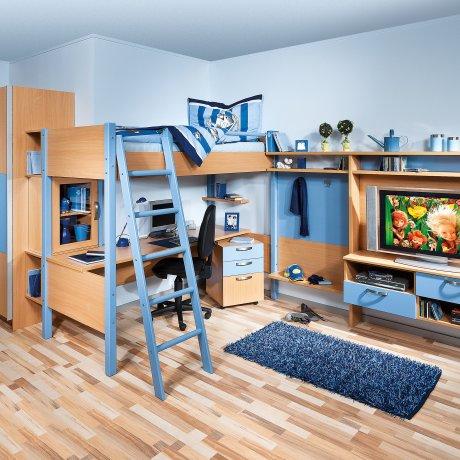 Jugendzimmer mit Hochbett und TV-Paneel