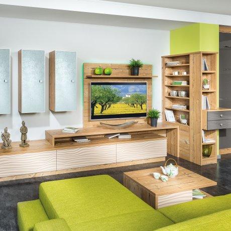 Wohnzimmer Ecklösung mit Bücherregal